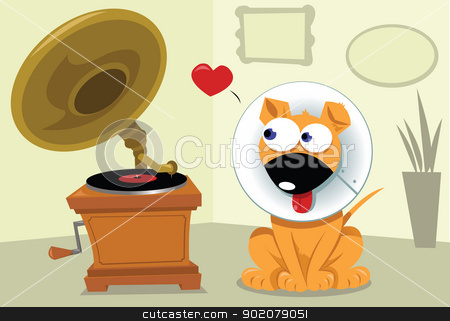 Funny Dog and Grammophone stock vector clipart, a funny dog wearing a helizabethan collar thinks he's a grammophone and falls in love   by pcanzo