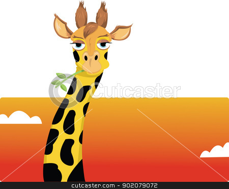 funny giraffe stock vector clipart, a vector cartoon showing a funny giraffe looking at camera by pcanzo