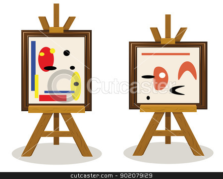 Modern Art Pieces stock vector clipart, a vector cartoon representing two modern art pieces by pcanzo