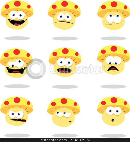 Funny Mushroom stock vector clipart, a vector cartoon representing a funny mushroom in different poses by pcanzo
