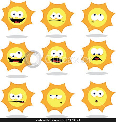 Funny Sun stock vector clipart, a vector cartoon representing a funny sun making faces by pcanzo