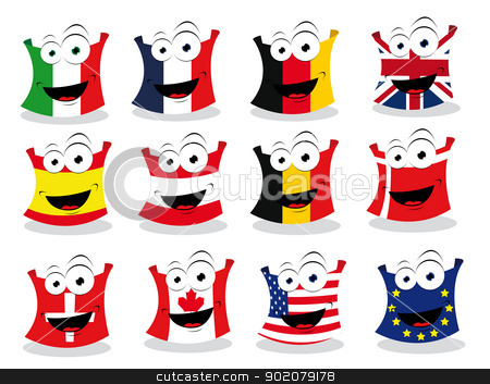 Funny Flags - Part II stock vector clipart, a vector cartoon representing some funny flags looking at camera by pcanzo