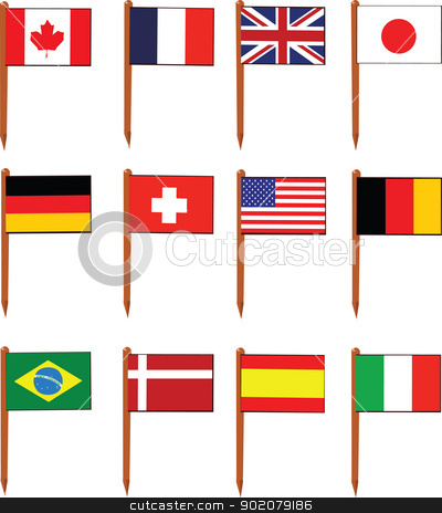 Sandwich Flags stock vector clipart, a vector cartoon representing a set of sandwich flags by pcanzo