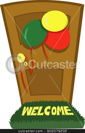 Party time stock vector clipart, A vector cartoon representing a closed door and some party decorations by pcanzo