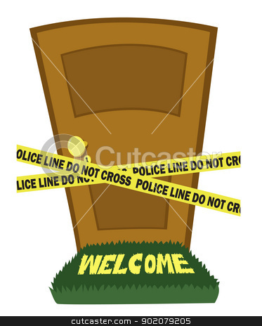 Door with police line tape stock vector clipart, A closed door and a police line tape  by pcanzo