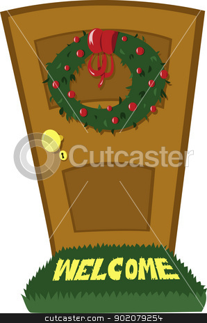 Christmas Door stock vector clipart, A closed door and a Christmas wreath by pcanzo