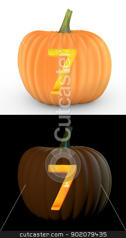 Number 7 carved on pumpkin jack lantern  stock photo, Number 7 carved on pumpkin jack lantern isolated on and white background by Zelfit
