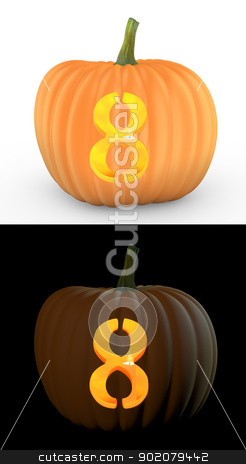 Number 8 carved on pumpkin jack lantern stock photo, Number 8 carved on pumpkin jack lantern isolated on and white background by Zelfit