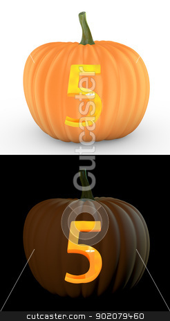 Number 5 carved on pumpkin jack lantern stock photo, Number 5 carved on pumpkin jack lantern isolated on and white background by Zelfit