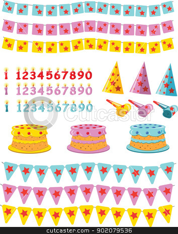 Birthday set  stock vector clipart, A vector cartoon, representing a birtday kit: cakes, candles, flags and paper caps by pcanzo
