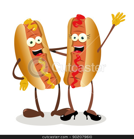 Hot Couple stock vector clipart, a vector cartoon representing a hot...dog couple by pcanzo