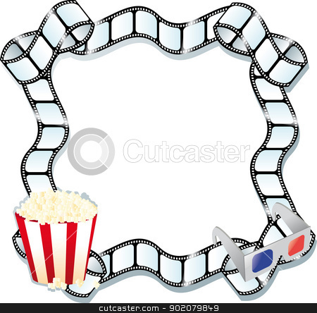 pop corn and movie stock vector clipart, pop corn , 3d glasses and a film by pcanzo