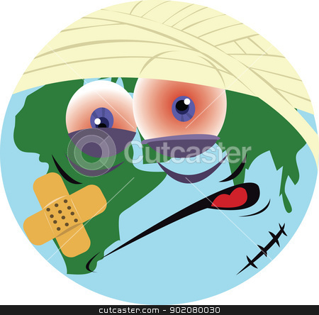 ill world stock vector clipart, a vector cartoon representing our ill planet by pcanzo