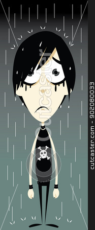 Funny Emo Boy stock vector clipart, a vector cartoon representing a funny emo boy, sadly standing in the rain - every object is singly grouped, you can easily remove water drops or skull if needed by pcanzo