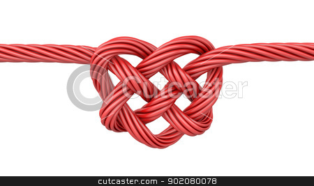 Red heart shaped knot stock photo, Red heart shaped knot, isolated on white background by Zelfit