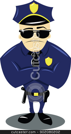 Policeman and white background stock vector clipart, a vector cartoon representing a funny policeman isolated on white by pcanzo