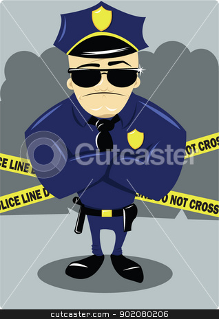Policeman and Crime Scene stock vector clipart, A vector cartoon representing a policeman at a crime scene by pcanzo