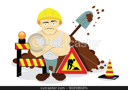 Man At Work stock vector clipart, a vector cartoon representing some works in progress and a worker by pcanzo
