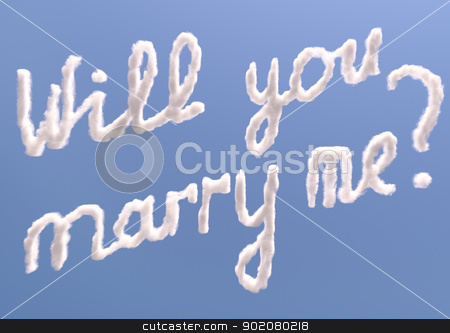 Will you marry me stock photo, Will you marry me text in sky, isolated on blue by Zelfit