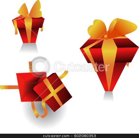 gifts stock vector clipart, three different views of the same gift by pcanzo