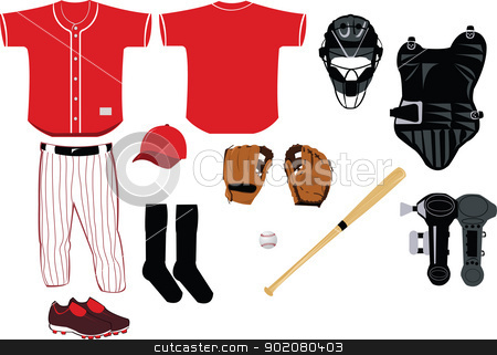 Baseball Equipment stock vector clipart, A vector cartoon representing all you need to play baseball game by pcanzo
