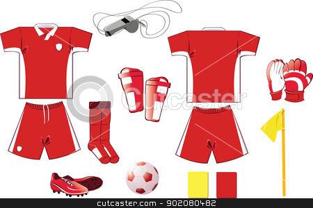 Complete Soccer set stock vector clipart, A vector illustration of soccer equipment - every object is singly grouped by pcanzo