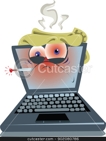 Ill Laptop stock vector clipart, an ill laptop...maybe it's just a virus!?  by pcanzo