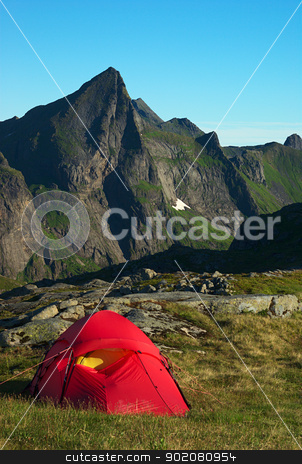 Tent on the Lofoten, Norway stock photo, Red tent in a mountain scenery on the island of Moskenesoya on the Lofoten, Norway by Ildi Papp
