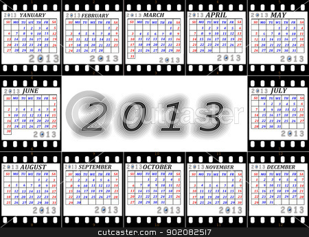 A calendar on 2013 is English  stock photo, A calendar on 2013 is English on a film by tanu666a