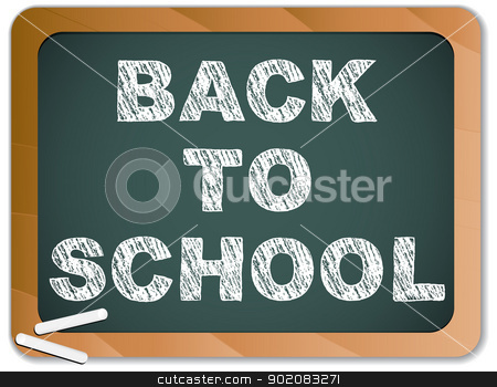 Blackboard with Back to School Message written with Chalk stock vector clipart, Vector - Blackboard with Back to School Message written with Chalk by Augusto Cabral Graphiste Rennes