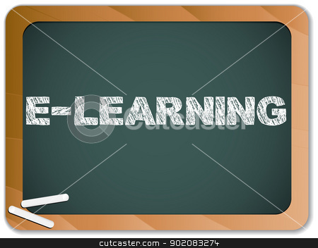 Blackboard with E-learning Message written with Chalk stock vector clipart, Vector - Blackboard with E-learning Message written with Chalk by Augusto Cabral Graphiste Rennes
