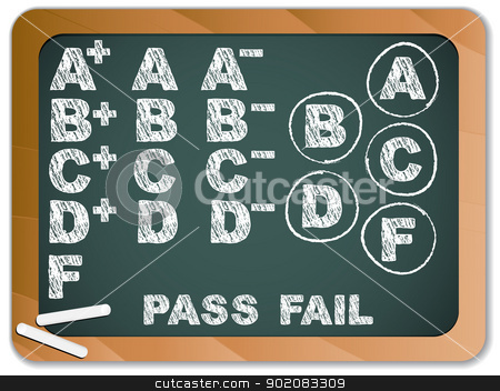 Blackboard with School Results Grades with Chalk stock vector clipart, Vector - Blackboard with School Results Grades with Chalk by Augusto Cabral Graphiste Rennes