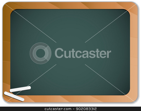 Green Chalk Blackboard with Wooden Border stock vector clipart, Vector - Green Chalk Blackboard with Wooden Border by Augusto Cabral Graphiste Rennes