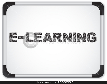 Whiteboard with E-learning Message written in Black stock vector clipart, Vector - Whiteboard with E-learning Message written in Black by Augusto Cabral Graphiste Rennes