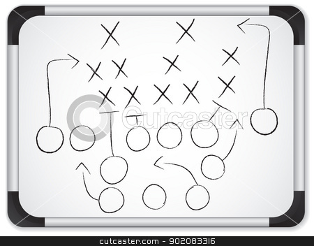 Vector - Teamwork Football Game Plan Strategy on Whiteboard stock vector clipart, Teamwork Football Game Plan Strategy on Whiteboard by Augusto Cabral Graphiste Rennes