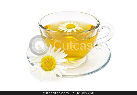 Herbal tea in a glass cup with daisies stock photo, Herbal tea in a glass cup with daisies isolated on white background by rezkrr