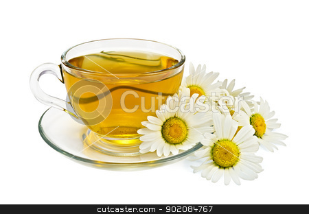 Herbal tea with chamomile stock photo, Herbal tea in a glass cup and saucer, a bouquet of chamomiles isolated on white background by rezkrr