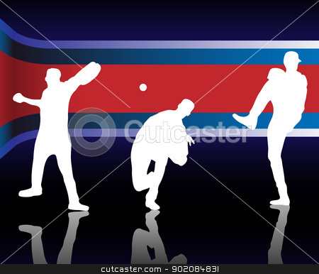Baseball American stock vector clipart, Baseballer  Silhouette with United States of America Background by Augusto Cabral Graphiste Rennes