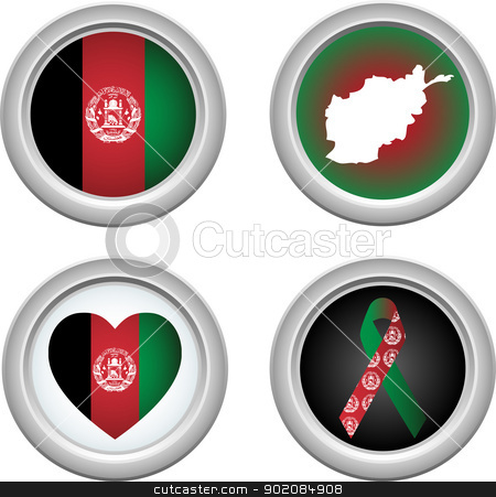 Buttons Afeghanistan stock vector clipart, Afghanistan Buttons with ribbon, heart, map and flag by Augusto Cabral Graphiste Rennes
