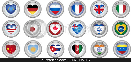 Buttons Heart Shaped Flags stock vector clipart, Set of 18 buttons of several countries heart shaped flags by Augusto Cabral Graphiste Rennes