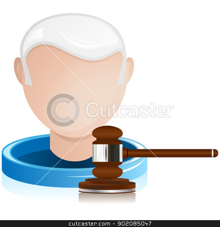 Senior Judge with Justice Gavel stock vector clipart, Vector - Senior Judge with Justice Gavel by Augusto Cabral Graphiste Rennes