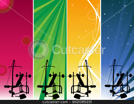 Gym Banners stock vector clipart, 4 banners to be used for your gym announce by Augusto Cabral Graphiste Rennes