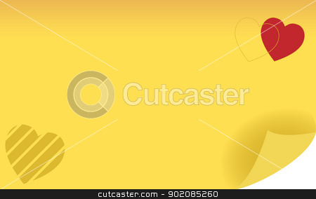 Heart Post Note stock vector clipart, Yellow heart shaped sticker note. Add your message. by Augusto Cabral Graphiste Rennes