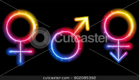 Male, Female and Transgender Gender Symbols Laser Neon stock vector clipart, Vector - Male, Female and Transgender Gender Symbols Laser Neon by Augusto Cabral Graphiste Rennes