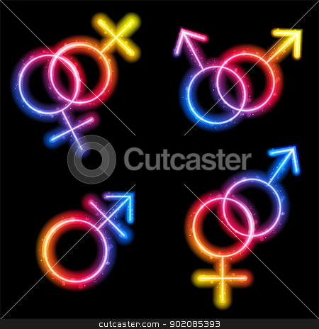 Male, Female and Transgender Gender Symbols Laser Neon stock vector clipart, Vector - Male, Female and Transgender Gender Symbols Laser Neon by Augusto Cabral Graphiste Rennes
