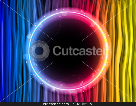 Abstract Rainbow Lines Background with Black Circle stock vector clipart, Vector - Abstract Rainbow Lines Background with Black Circle by Augusto Cabral Graphiste Rennes