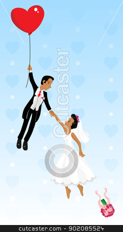 Just married black couple flying with a heart shaped balloon stock vector clipart, Just married black couple flying with a heart shaped balloon. Highly detailed vector image. by Augusto Cabral Graphiste Rennes