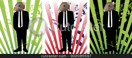 Rat in Suit stock vector clipart, Rat face in suit representing corruption by Augusto Cabral Graphiste Rennes