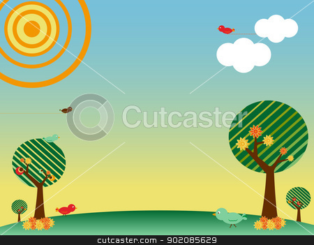 Retro spring landscape with birds and trees stock vector clipart, Retro spring landscape with birds and trees. Editable Vector Illustration by Augusto Cabral Graphiste Rennes