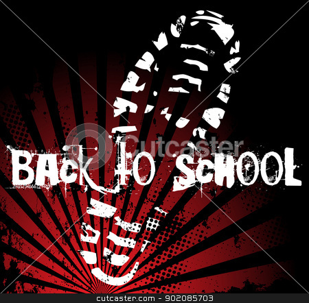 Back to School Shoe stock vector clipart, Back to school shoe sole grunge print by Augusto Cabral Graphiste Rennes